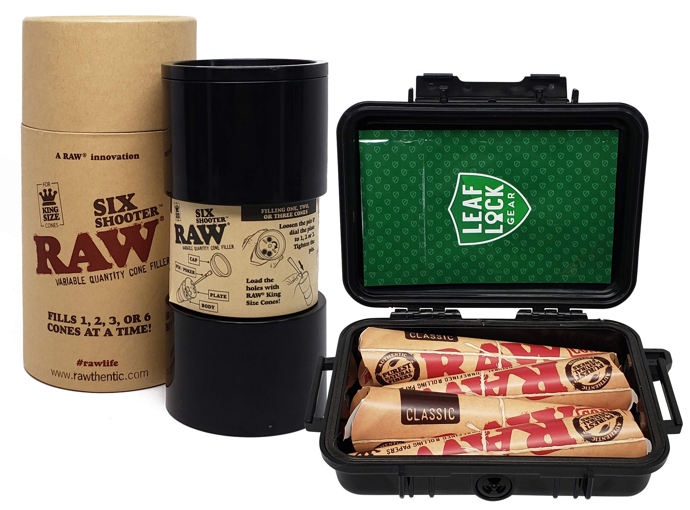 RAW Six Shooter Cone Filler with RAW Classic King Size Cones (4 Packs) Leaf Lock Gear Travel Case and Leaf Lock Gear Smell Proof Pouch
