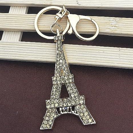 Torre Eiffel cristal Rhinestone colgante Metal bolsa coche ...