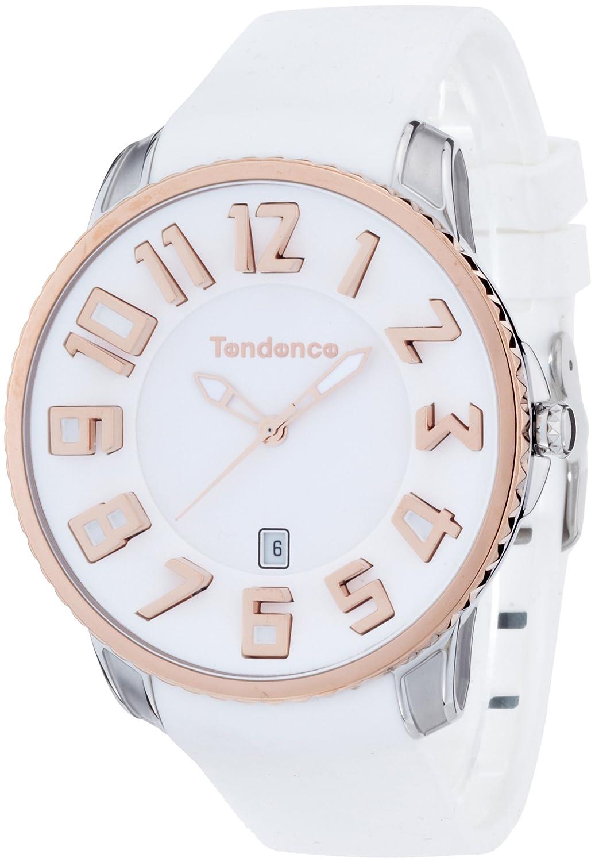 Tendence Unisex Armbanduhr Gulliver Slim mit weißem Zifferblatt Analog-Anzeige und weiße TS151004 Kunststoff