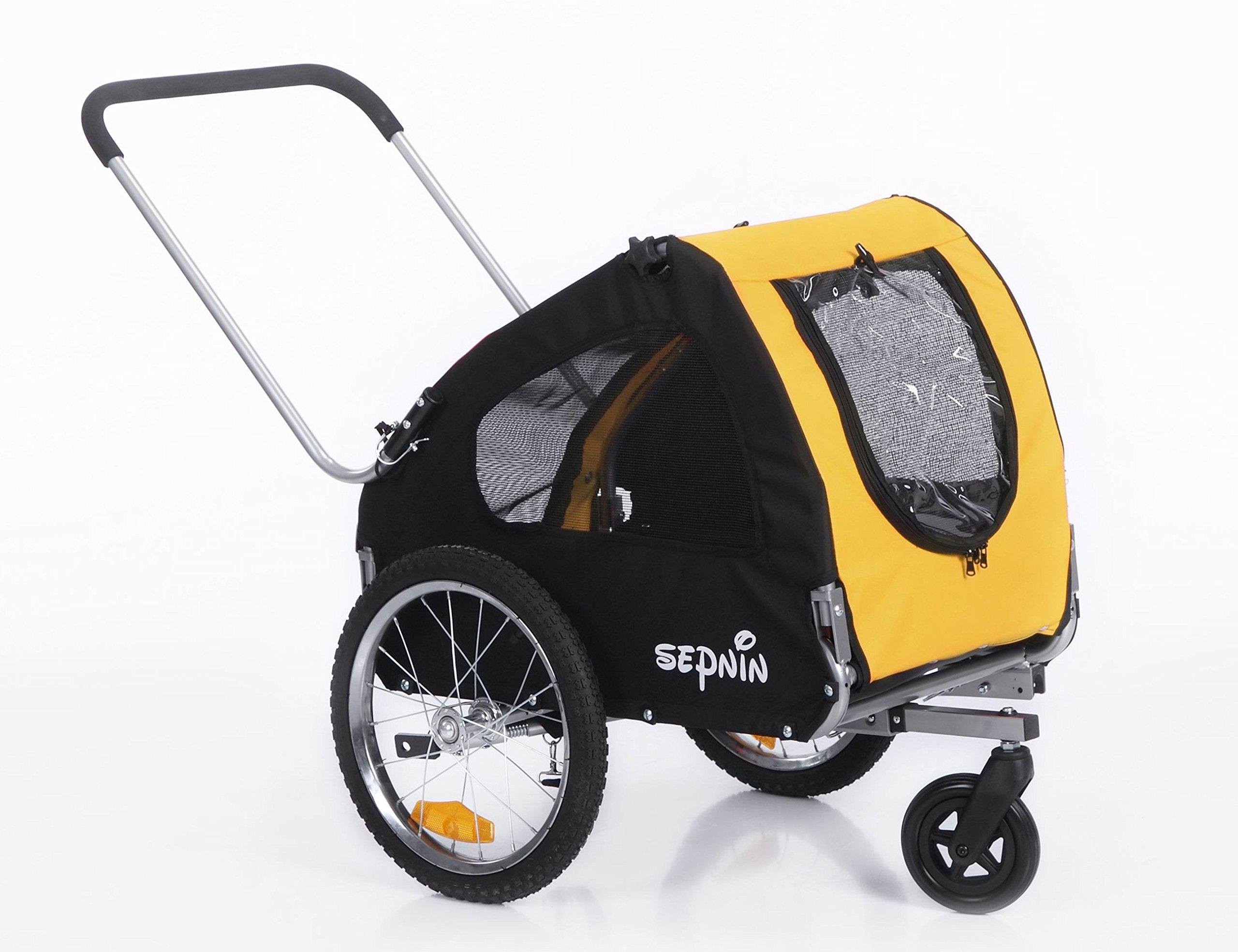 Sepnine 2 in 1 Pet Dog Bicycle/Bike Carrier/Trailer/Jogger 10305 (Yellow/Black)