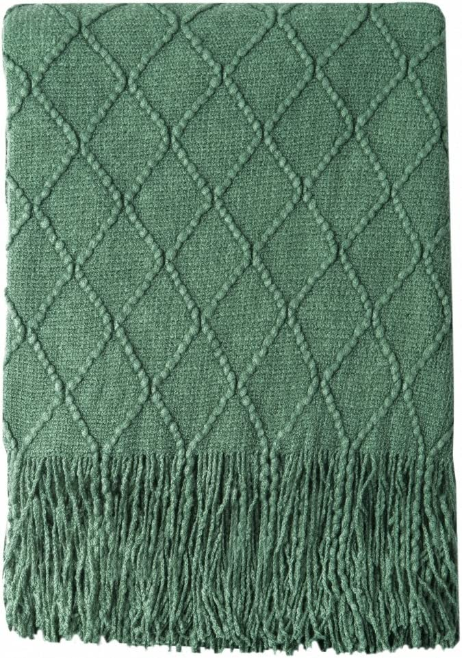 """BOURINA Green Throw Blanket Textured Solid Soft Sofa Couch Decorative Knitted Blanket, 50"""" x 60"""",Green"""