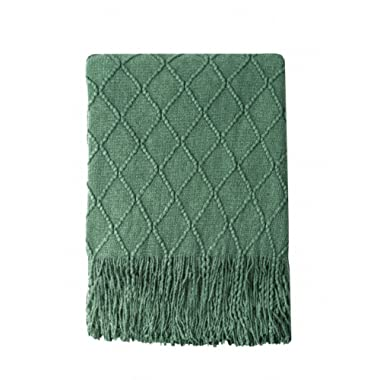 Bourina Green Throw Blanket Textured Solid Soft Sofa Couch Decorative Knitted Blanket, 50  x 60 ,Green