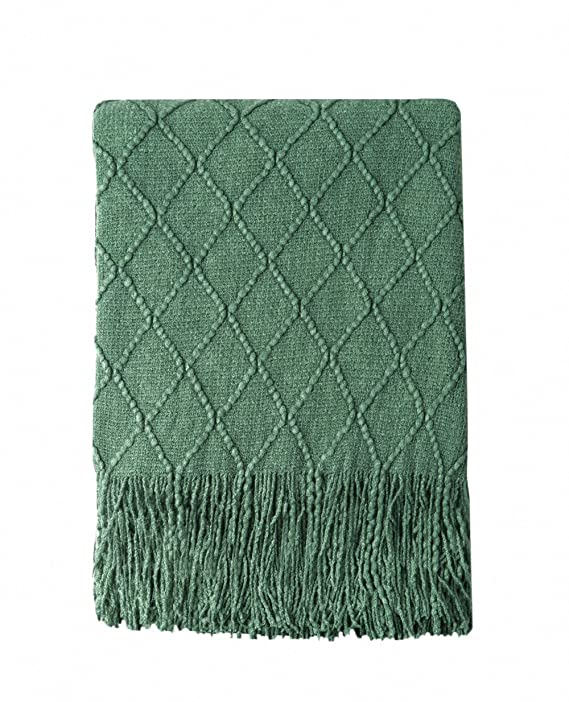"BOURINA Green Throw Blanket Textured Solid Soft Sofa Couch Decorative Knitted Blanket, 50"" x 60"",Green"