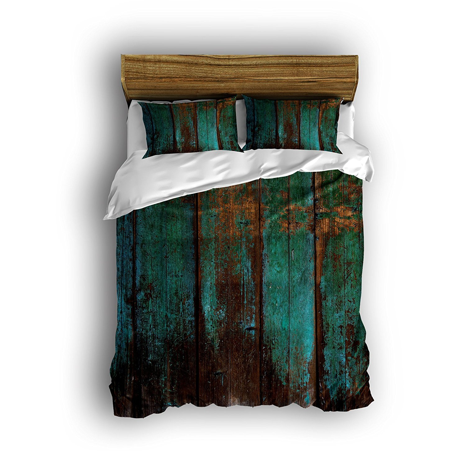 Libaoge 4 Piece Bed Sheets Set, Country Rustic Distressed Teal Green Barn Wood Print, 1 Flat Sheet 1 Duvet Cover and 2 Pillow Cases