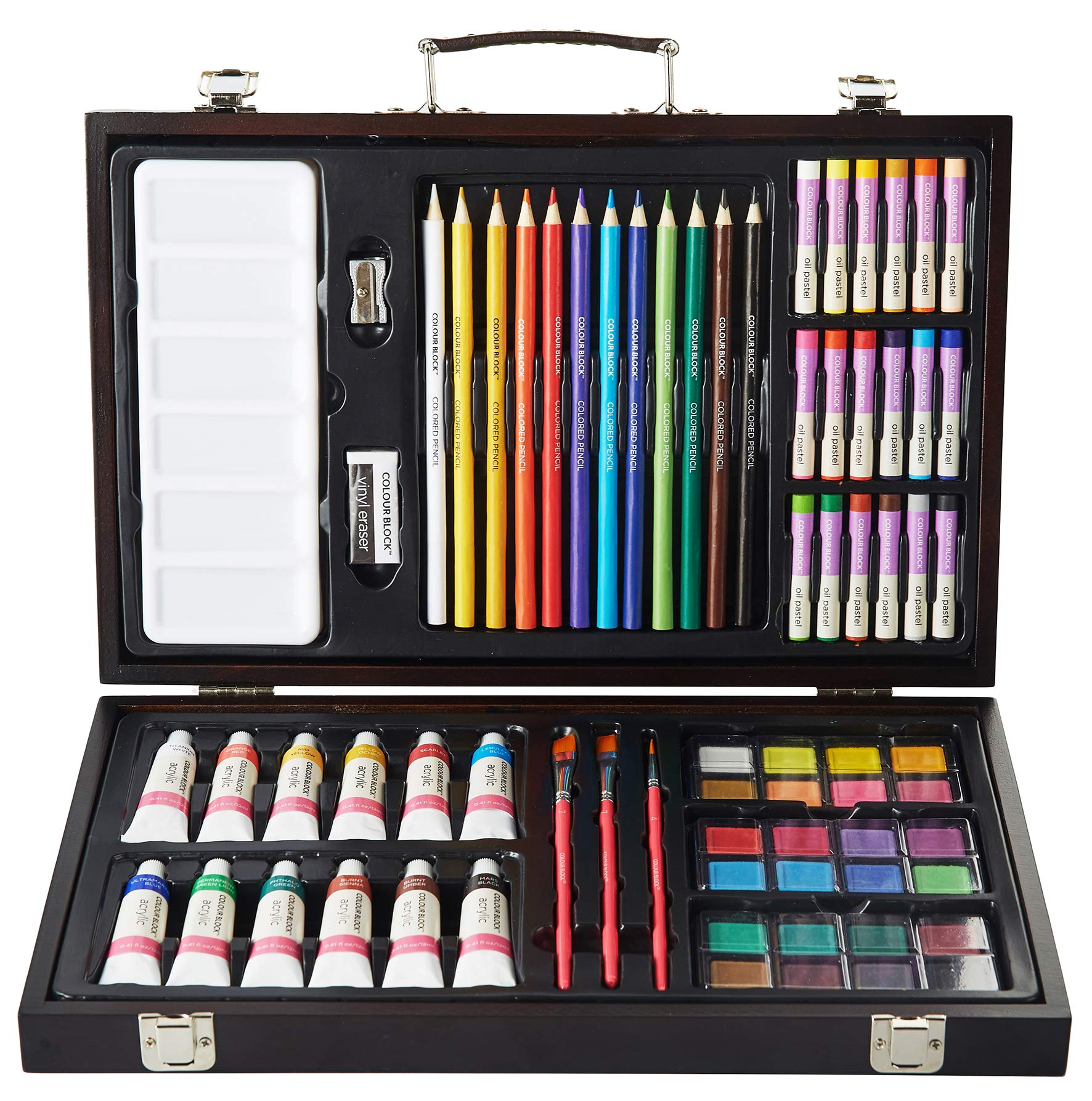 COLOUR BLOCK Classic 73 Piece Wooden Box Art Supplies Kit, with Colored Pencils, Acrylic Paints, Watercolor Cakes, Oil Pastels, Brushes and Palette for Teens and Student Artists