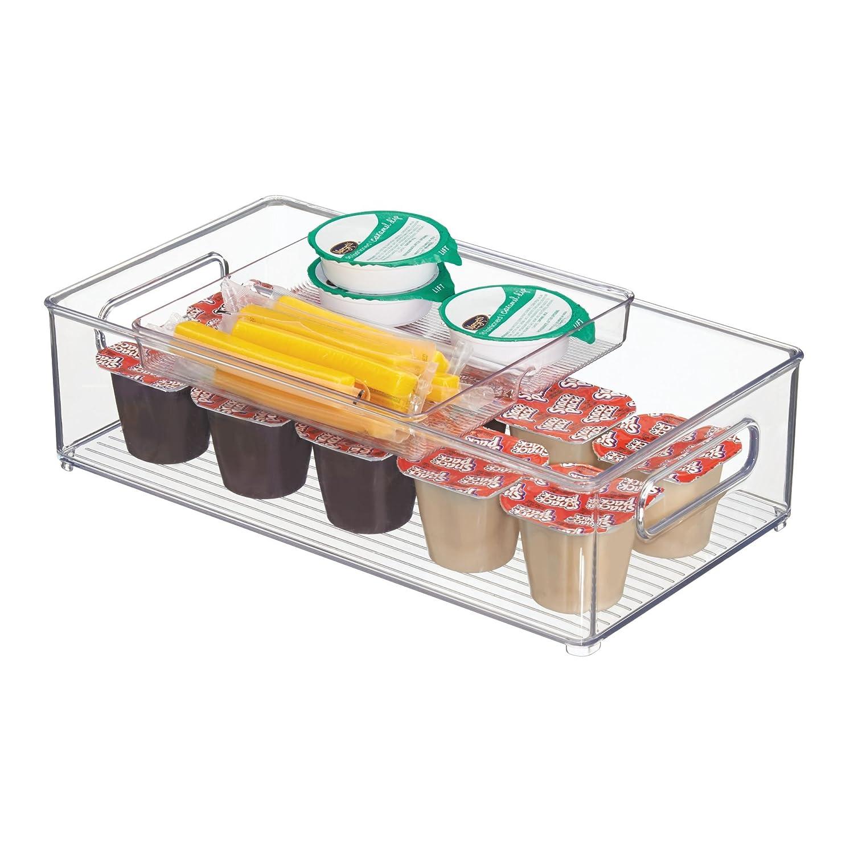 mDesign Stacking Organizer Bin & Tray for Kitchen, Pantry, Refrigerator, Freezer - 2-Piece Set, Clear