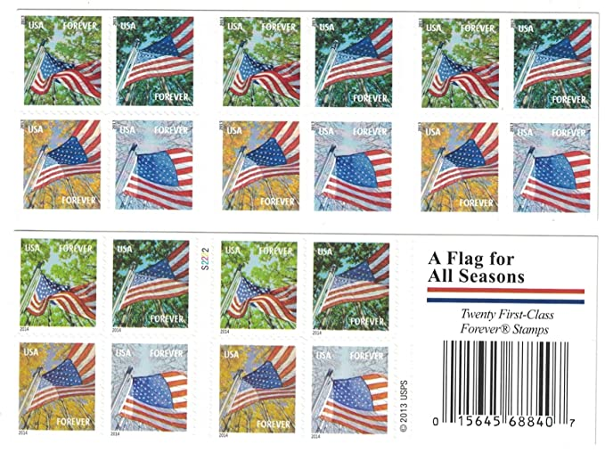 Amazon USPS Forever Stamps A Flag For All Seasons Booklet Of 20 Postage Stamp Dispensers Office Products