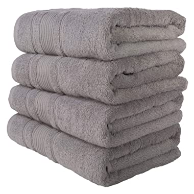 Qute Home Towels 100% Turkish Cotton Gray Bath Towels Set | Super Soft Highly Absorbent | Spa & Hotel Towels Quality Quick Dry Grey Towel Sets for Bathroom, Shower Towel, Gym –(Bath Towel - Set of 4)