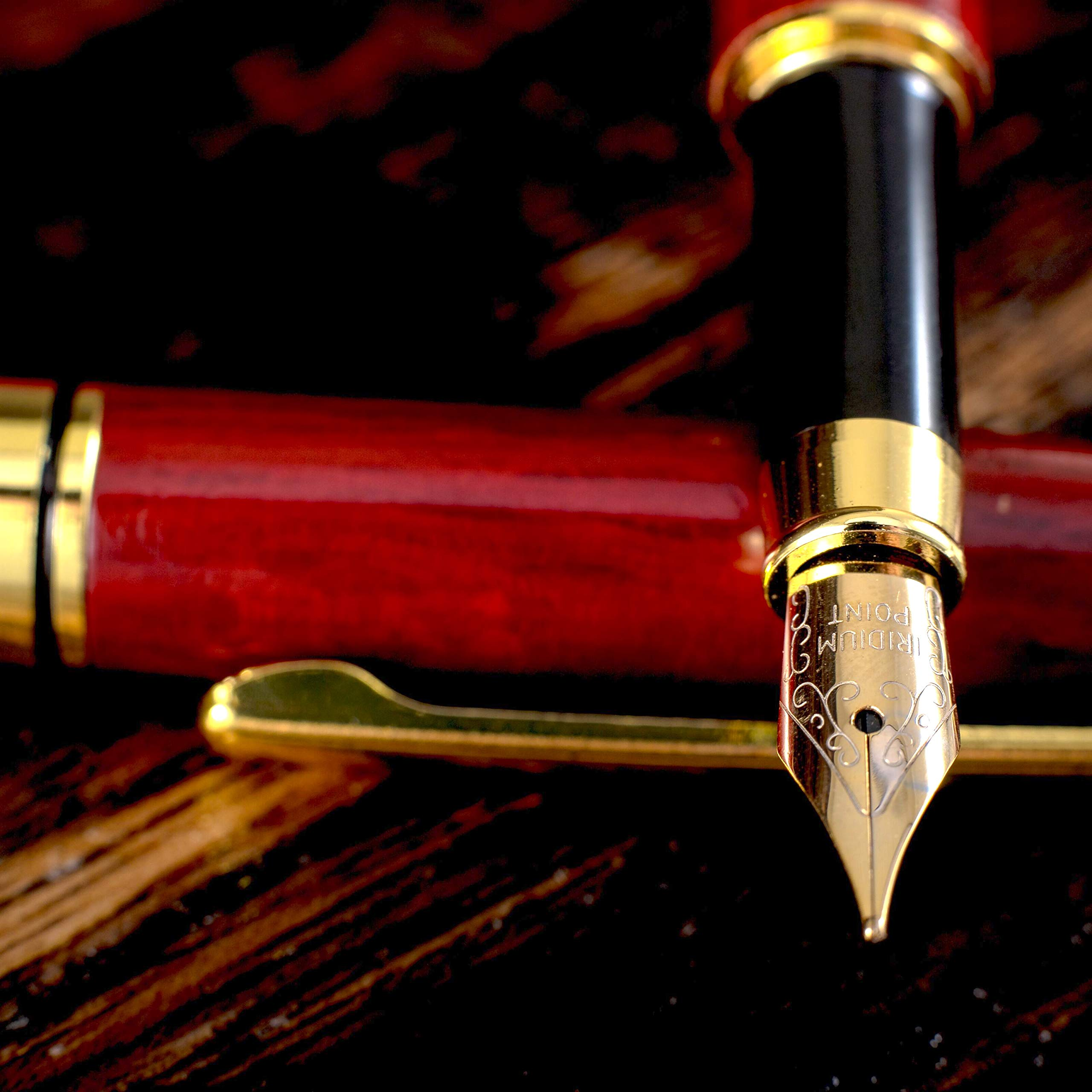 Gorgeous Red Fountain Pen made of Luxury Wood with Refillable Converter, Beautiful Case Set and Medium Nib Point. Works Smoothly with Disposable Ink Cartridges. Fine Calligraphy Pens. Modern Classic by MONAGGIO