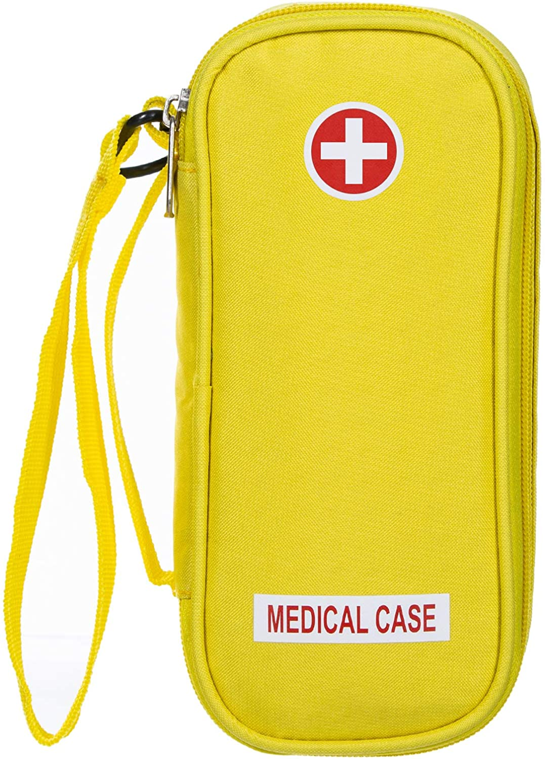 EpiPen Carrying Medical Case - Yellow Insulated Portable Bag with Zipper - for 2 EpiPen's, Auvi-Q, Asthma Inhaler, Small Ice Pack, Eye Drops, Allergy Medicine Essentials