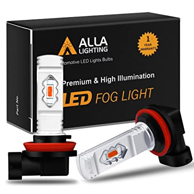Alla Lighting 3800lm H11 H16 Red LED Fog Lights Bulbs ETI 56-SMD Xtreme Super Bright H8 H11 H16 LED Bulbs Replacement for Cars, Trucks, SUVs, Vans: Automotive