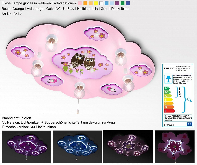 KIDSLICHT Kinderlampe Led Nachtlicht Zwei Eulen 231-2- Rosa Lampe Kinderzimmer Baby Deckenleuchte Kinder Deckenlampe