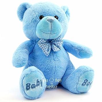 Keel Toys Blue Teddy Bear New Baby Boy Soft   Cuddly Large 35cm BabyRice 1c00645f27