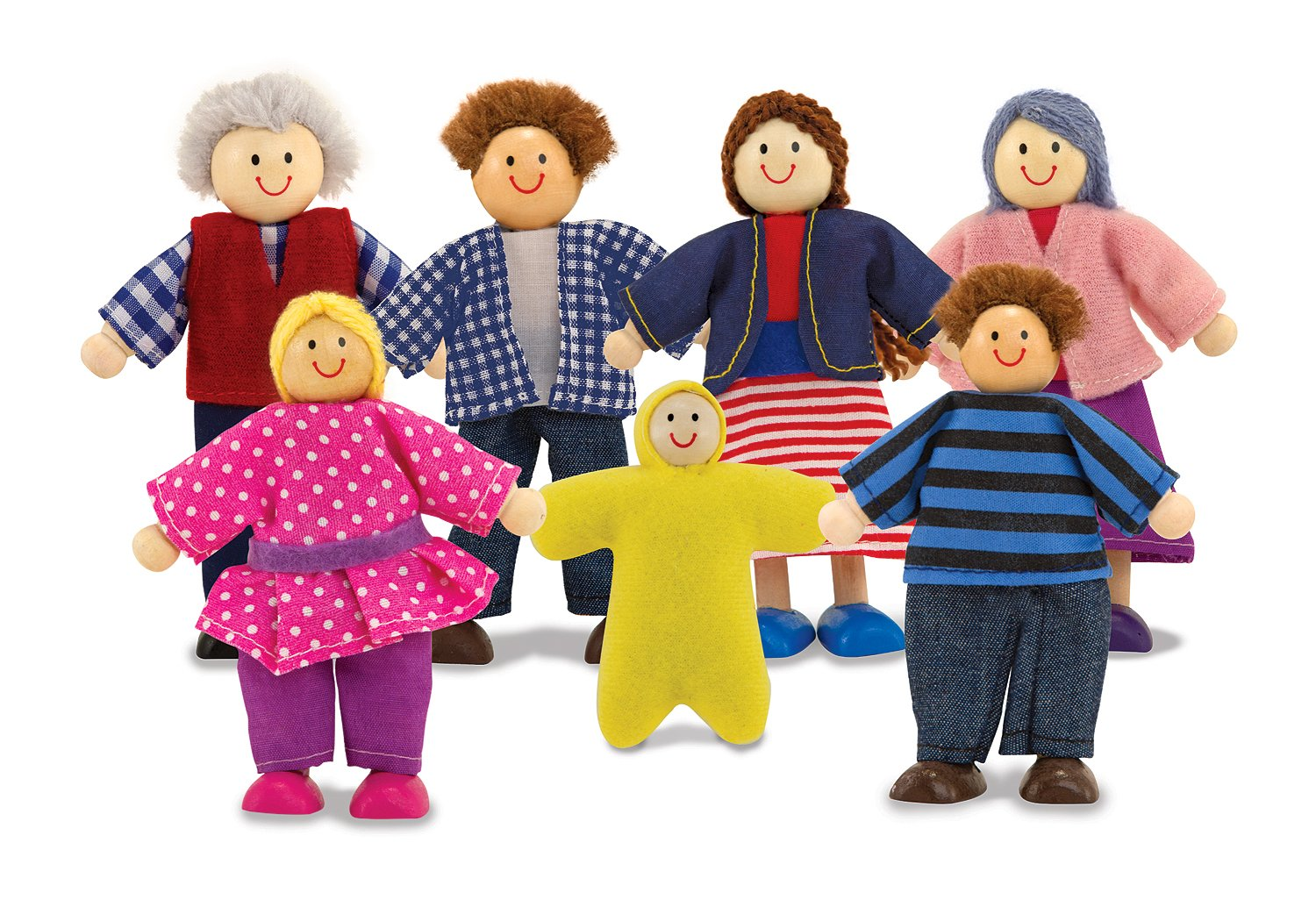Amazon.com: Melissa & Doug 7-Piece Poseable Wooden Doll Family for ...