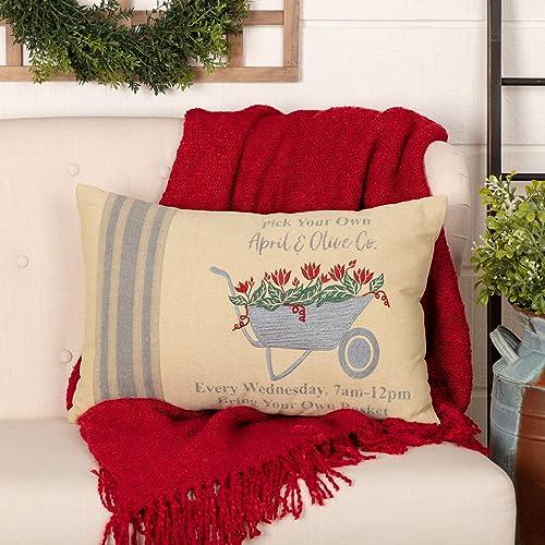 VHC Brands Farmer s Market Throw Pillow, 14×22, Red Rose Wheelbarrow