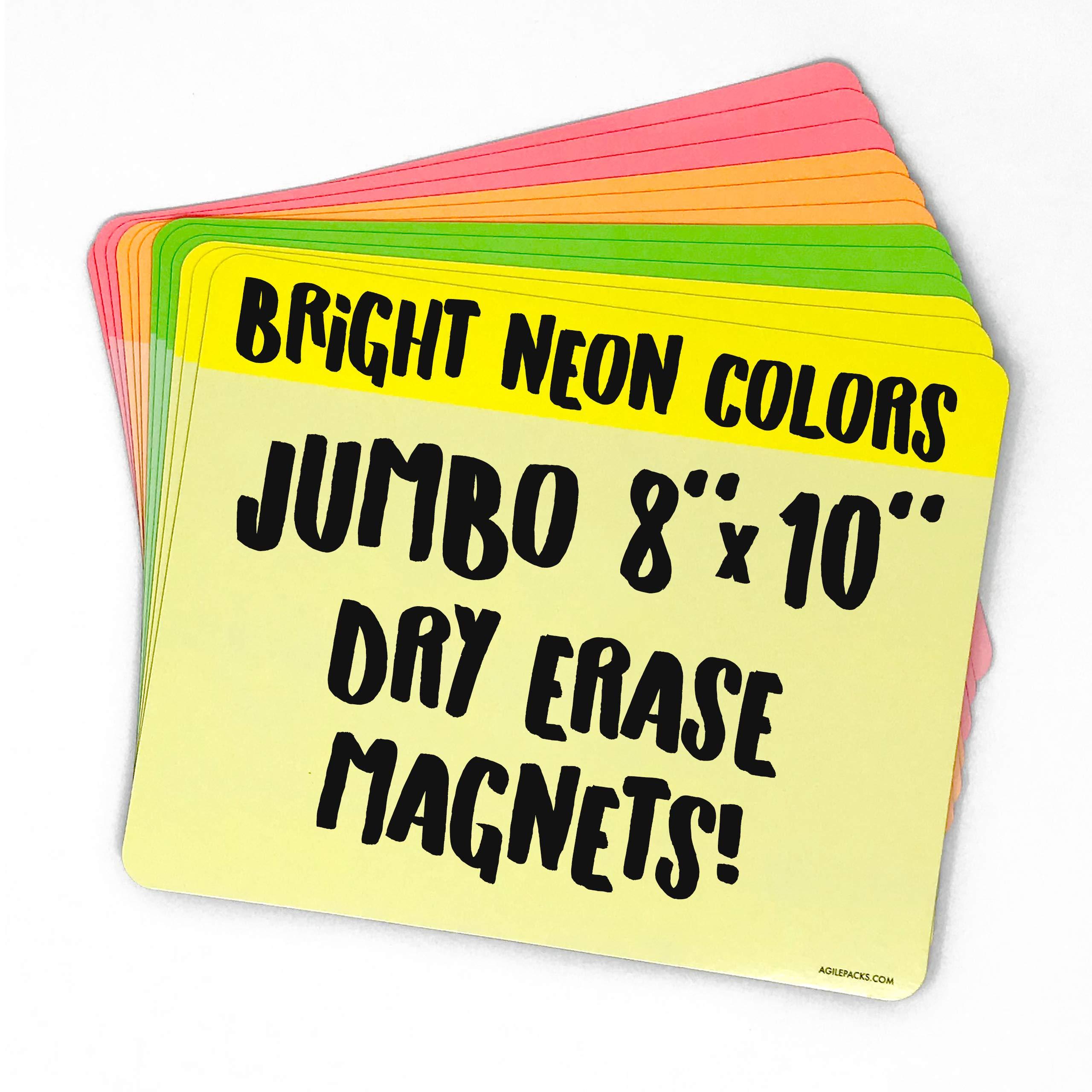Jumbo Neon Dry Erase Whiteboard Magnets by AgilePacks | 8'' x 10'' Reusable Magnets Plus Magnetic Microfiber Eraser Cloth by AgilePacks