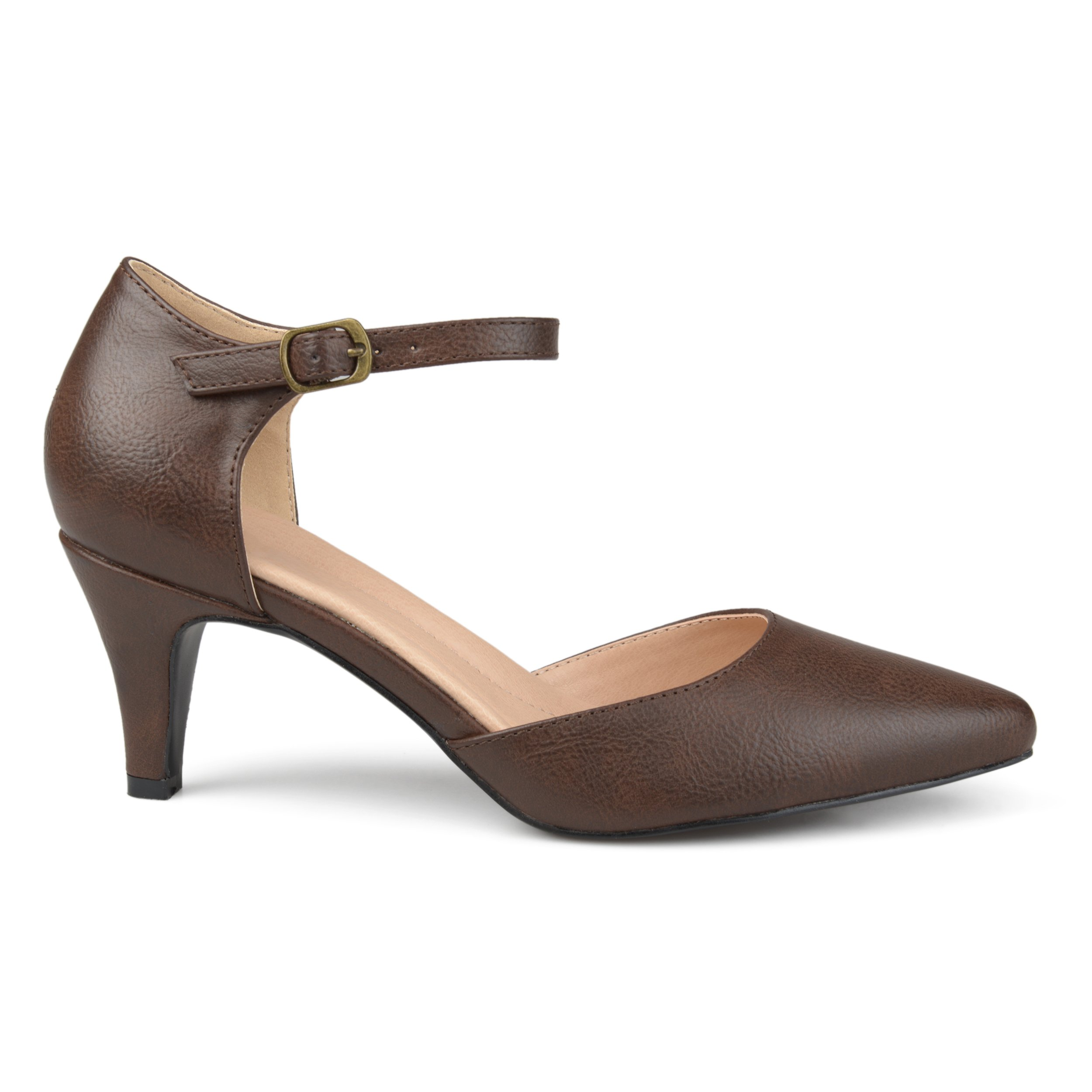 Brinley Co. Womens Faux Leather Comfort Sole D'Orsay Ankle Strap Almond Toe Heels Brown, 9 Regular US