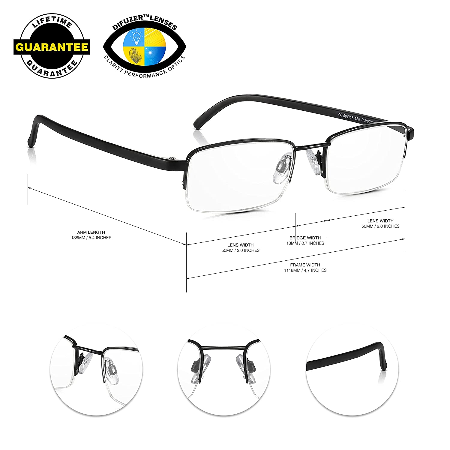 742c489451 Read Optics 5 Pack Half Frame Reading Glasses  Vintage Black Metal  Semi-Rimless Ready Readers +1.5 to +2.5. Optical Quality Rectangular Clear  Lens ...