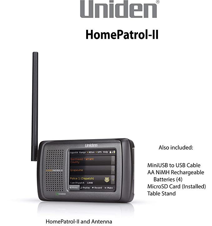 Uniden HomePatrol-2 Color Touchscreen Simple Program Digital Scanner,  TrunkTracker V and S,A,M,E, Emergency/Weather Alert, APCO P25 Phase 1 and  2!