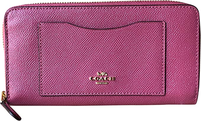 Coach Crossgrain Accordion Zip Leather Wallet Fuchsia Pink F54007 COACH BOX