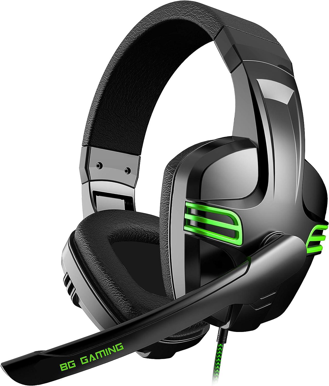 Cascos Gaming BG Typhoon - Auriculares con microfono, Sonido Stereo, Altavoces 40mm, Diadema Ajustable, Micro abatible, USB, Compatible PC, PS4, PS5, XBONE One, Nintendo Switch, Negro