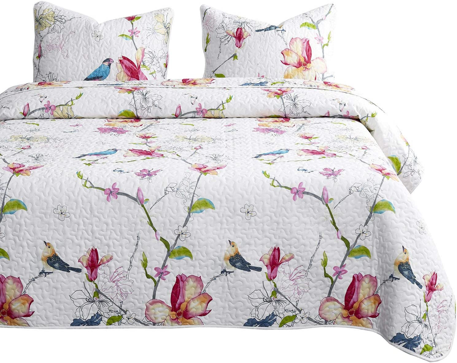 Wake In Cloud - Floral Quilt Set, Botanical Flowers and Birds Pattern Printed, 100% Cotton Fabric with Soft Microfiber Inner Fill Bedspread Coverlet Bedding (3pcs, Queen Size)