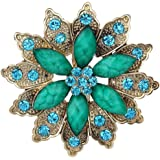 Yazilind Vintage Gold Plated Flower Crystal Korean Brooch Pin For Women