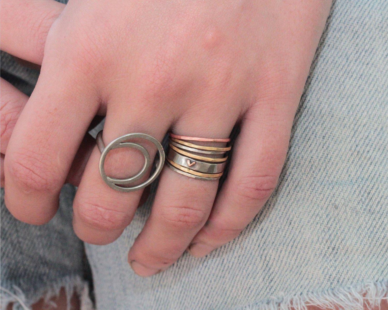 Amazon.com: Heart Ring / Wife Gift / Girlfriend Gift / Stackable ...