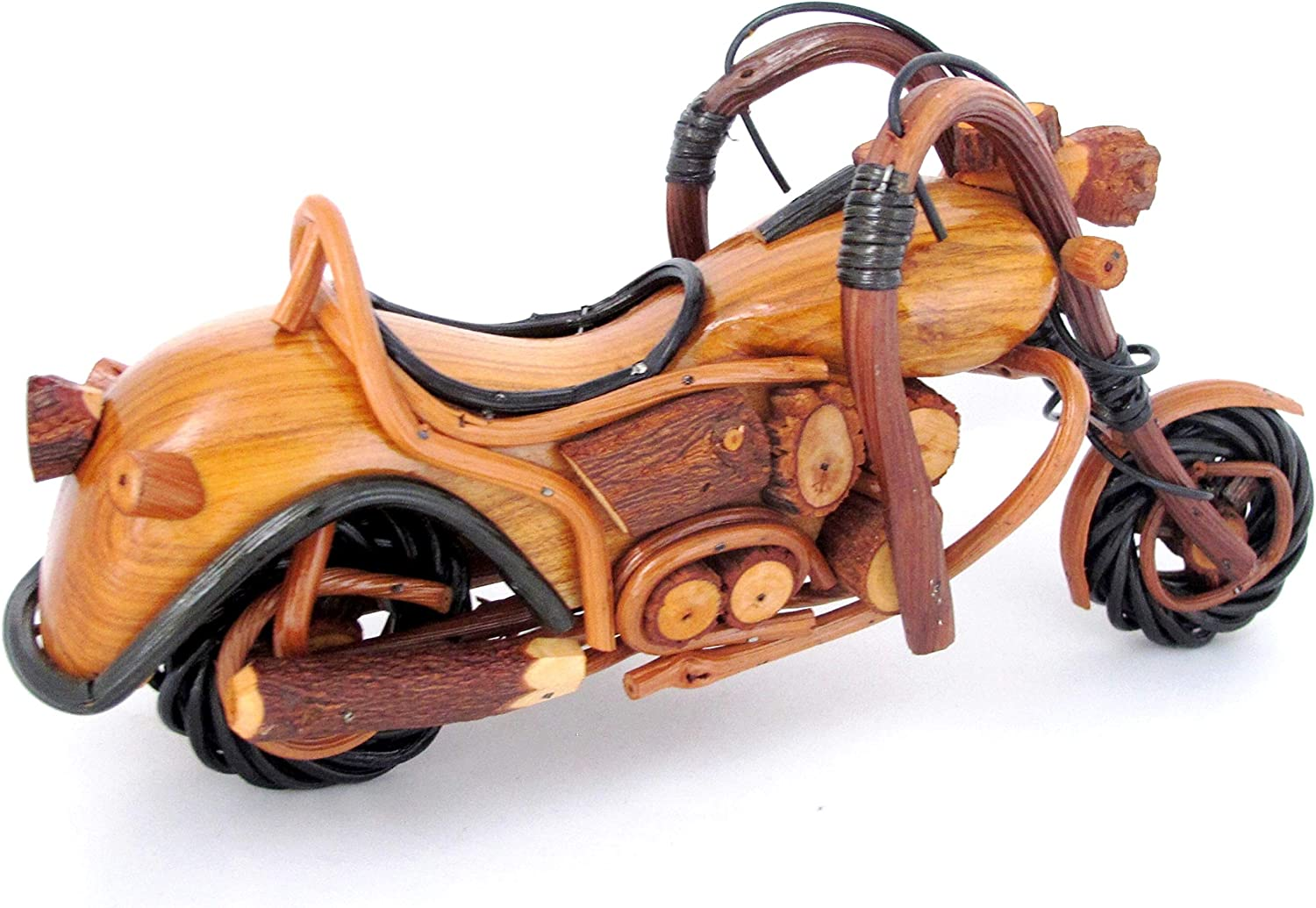 Blue Orchid Wooden Motorcycle Figurine Decorations for Home - Handmade Motorcycle Model Wood Harley Chopper Collectible Sculpture - 11.5 Inches