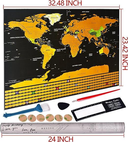 Mapamundi,Mapa del Mundo rascar travel edición,Personalizada de Viaje Aventura Regalo para Viajero Decoración de Pared: Amazon.es: Oficina y papelería