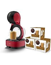 Krups Lumio Roja KP1301- Cafetera cápsulas Dolce Gusto Nestlé automática 1600 W de 15 bares de presión, depósito 1 L para bebidas calientes y frías, color blanco con 48 cápsulas de Café con Leche