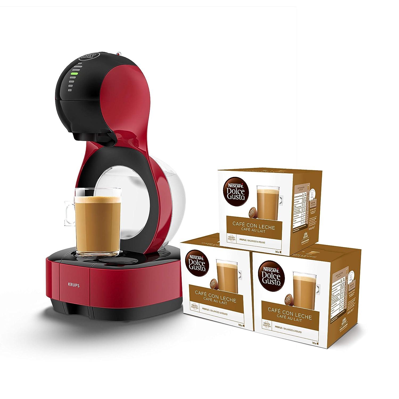 Pack Krups Dolce Gusto Lumio KP1305 - Cafetera de cápsulas, 15 bares de presión, color rojo + 3 packs de café Dolce Gusto Con Leche