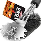 """Grill Brush Scraper Universal Fit - Adjustable BBQ Grill Accessories Cleaning Kit - 12 Grooves Safe 18"""" Stainless Steel Barbecue Grill Cleaner Wizard Tools Weber Gas/Charcoal Grilling Grates"""