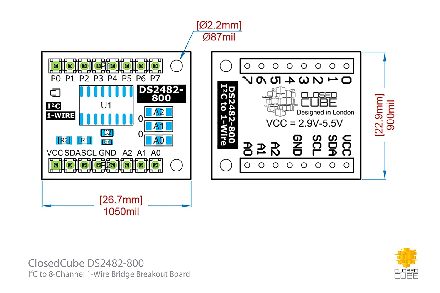 Closedcube Ds2482 800 I2c To 8 Channel 1 Wire Bridge Diagram For Wiring Pin Nr 51 Computer Zubehr