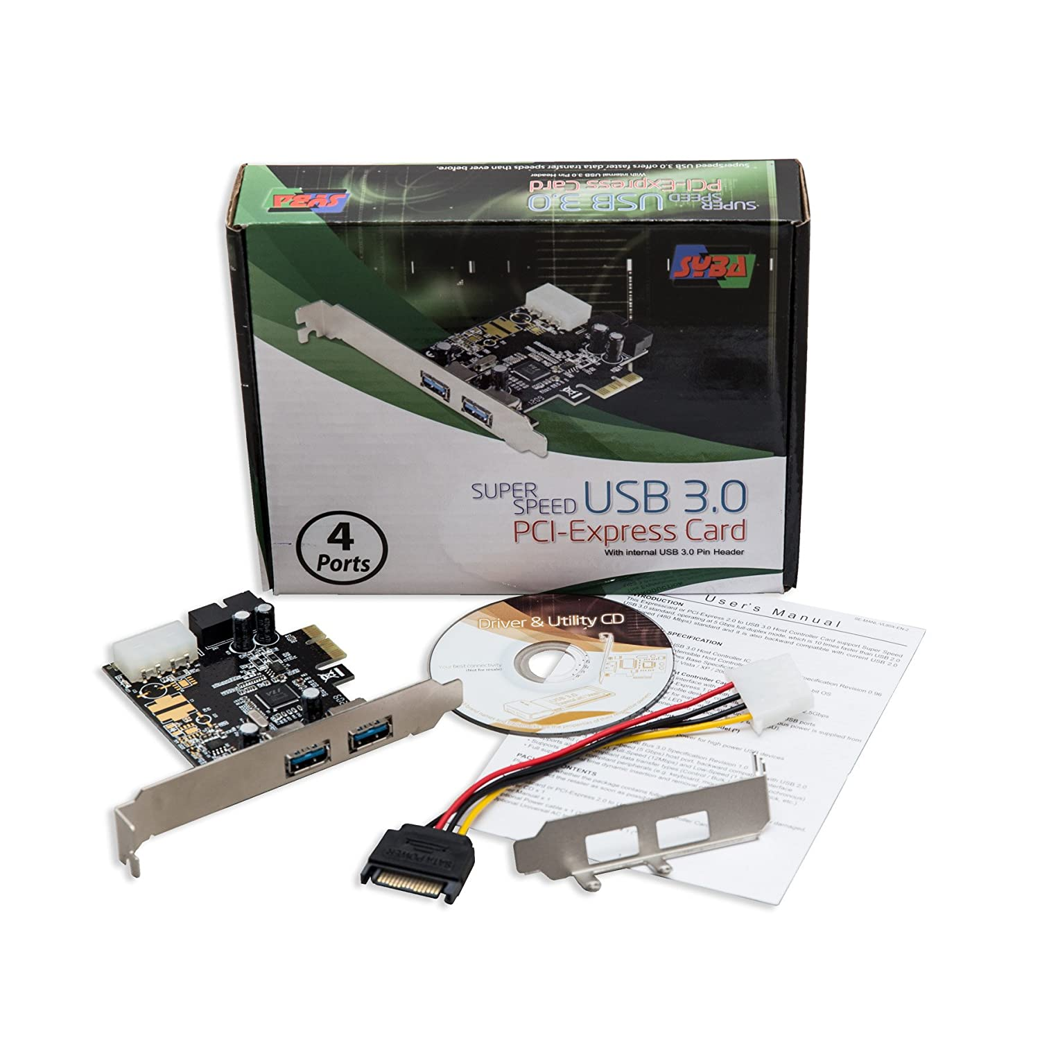 2 External USB 3.0 Type A Ports Syba USB 3.0 PCI-E x1 Adapter Card Requires SATA Power SD-PEX20160 Renesas Chipset