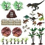 30 Piece Dinosaurs Toys Set - Plastic Dinosaurs Figures, Realistic Dinosaurs Trees & Rocks,Dinosaur Eggs and Nest,Kids…