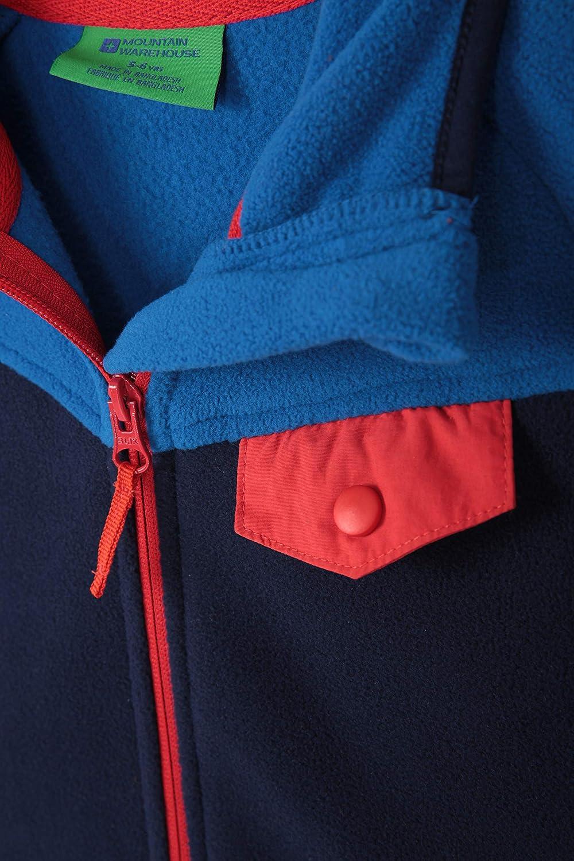 ideal f/ür den Winterspaziergang Brusttasche Mountain Warehouse Vesuvius Kinder-Kontrastfleece Mikrofleece-Sweatshirt Reise und Urlaub