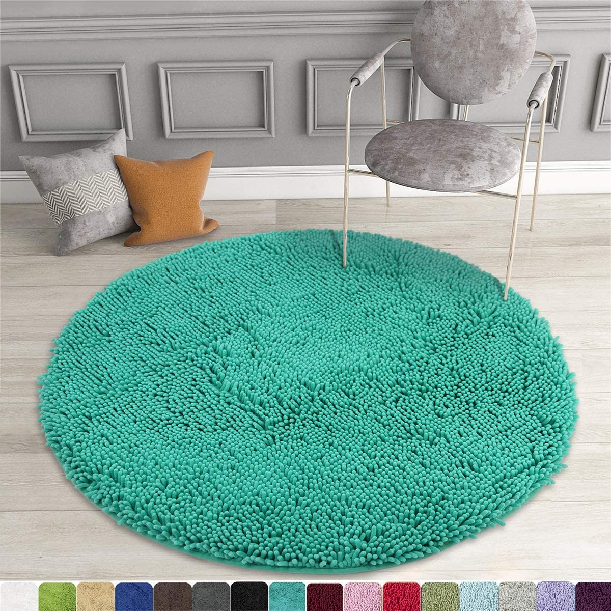 MAYSHINE Round Bath Mat Non-Slip Chenille 3 Feet Shaggy Bathroom Rugs Extra Soft and Absorbent Perfect Plush Carpet for Living Room Bedroom, Machine Wash/Dry-Turquoise