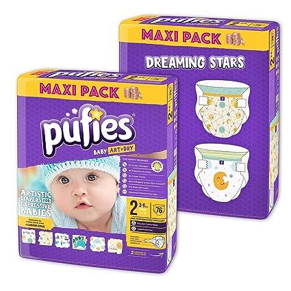 Paquete de pañales para bebé con diseños Pufies Art&Dry Dreaming Stars - 152 pañales estampados de