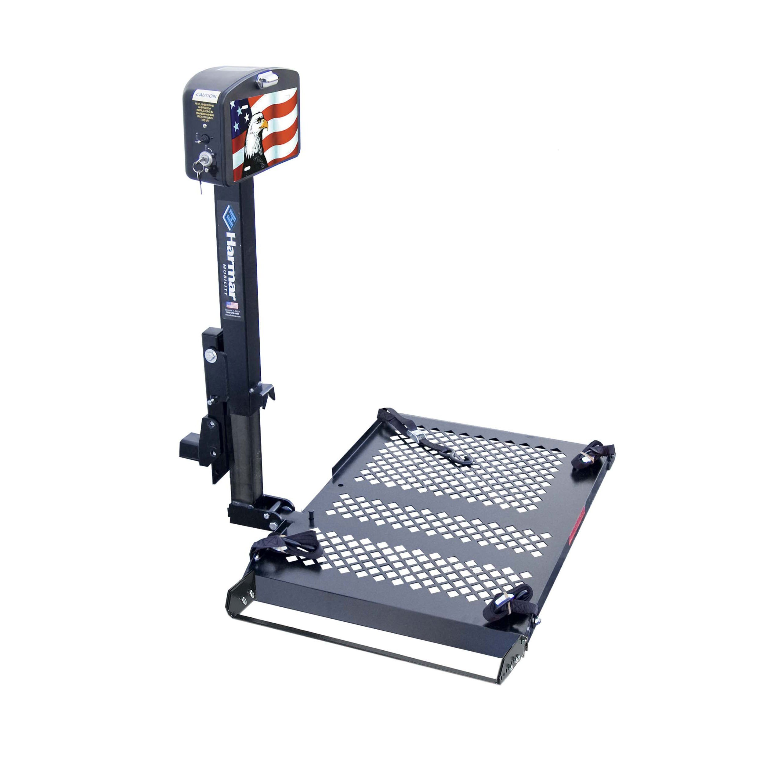 Harmar Mobility AL010 Micro Power Wheelchair Lift Outside Fully Automatic Carrier with II/III Hitch Adapter & Wiring Harness & Swing-Away Arm