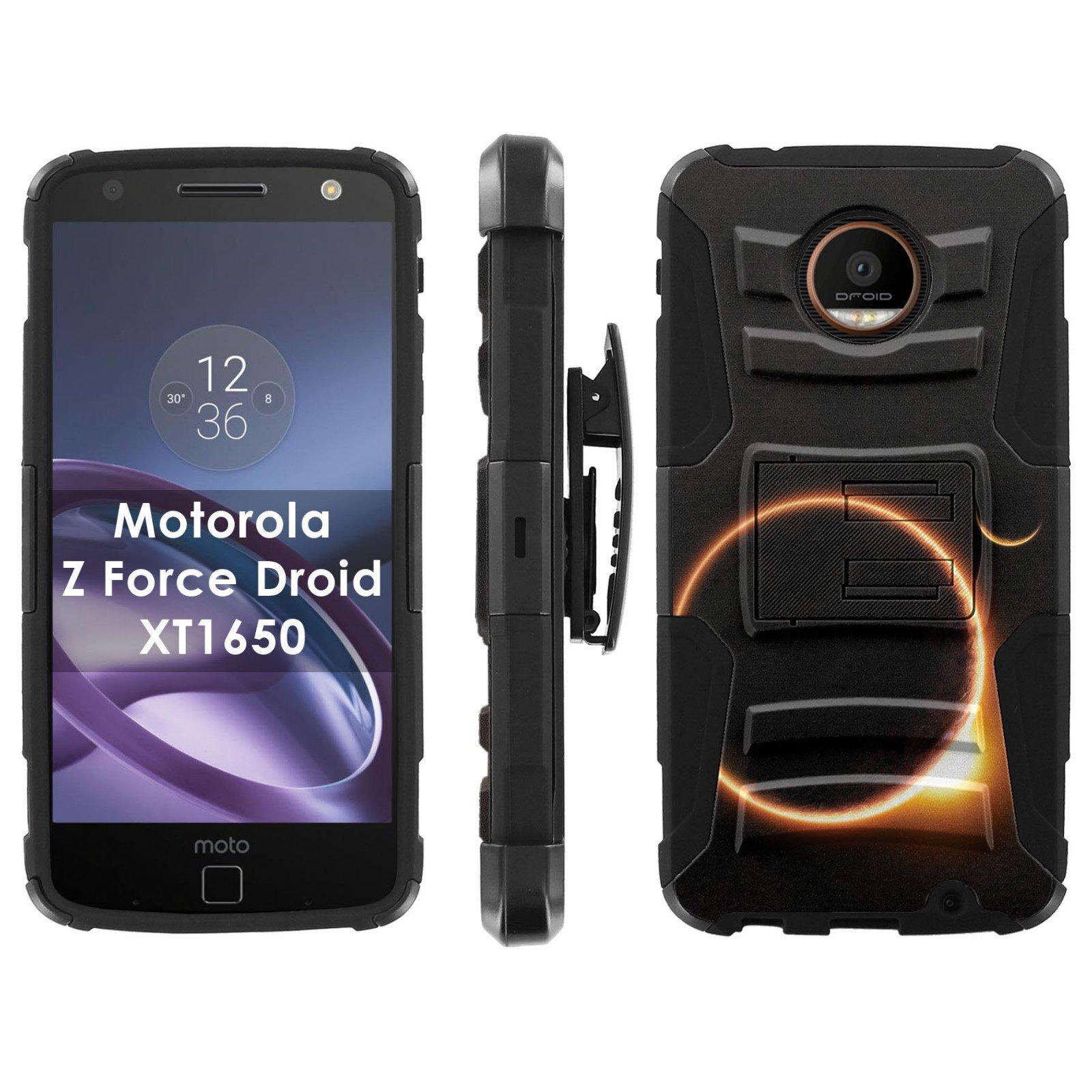 Motorola Moto [Z Force] Droid Phone Cover, Solar Eclipse- Black Blitz Hybrid Armor Phone Case for [Motorola Moto [Z Force] Droid] with [Kickstand and Holster]