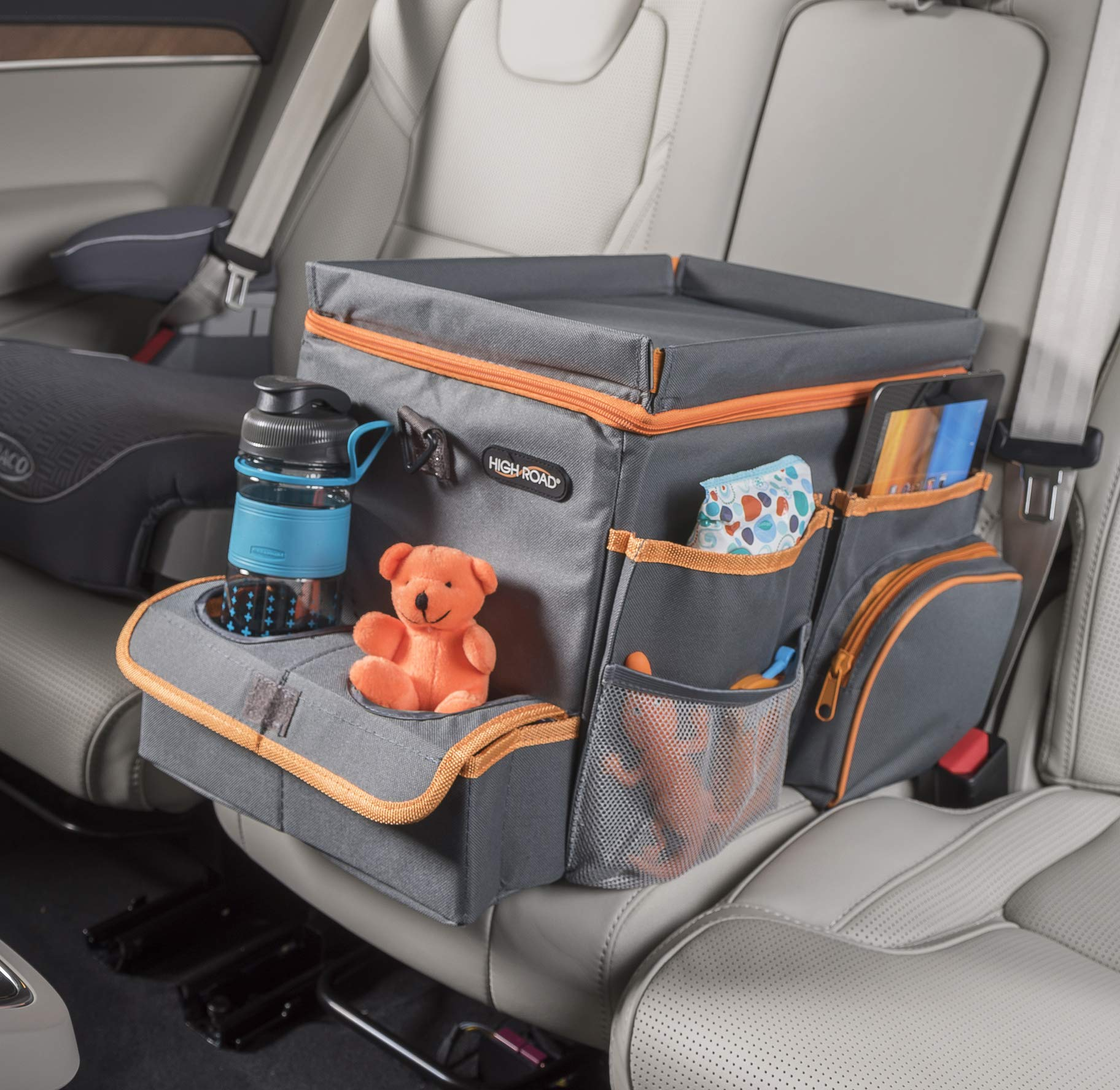 High Road Car Organizer for Kids with Cooler and Snack Tray (Gray) by High Road
