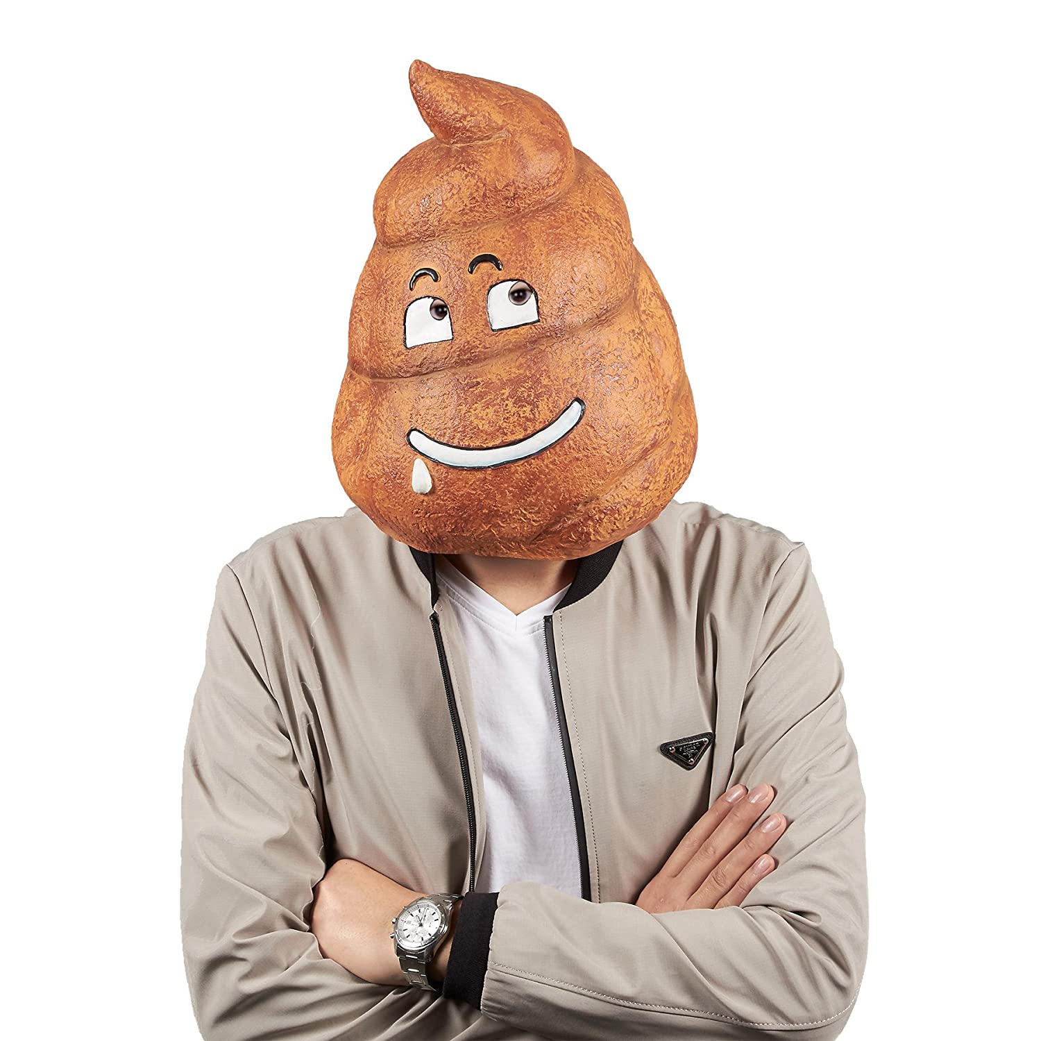 Poop Emoji Full Head Mask Face Cover Headwear for Costume Themed Party and Halloween Party Supplies Photo Booth Prop