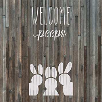 Easter Welcome Peeps Stencil Reusable Stencils for Painting Create DIY Easter Welcome Peeps Home Decor