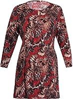 Womens Plus Size Tie Back Print Ladies Long Sleeve Flared Swing Long T-Shirt Top