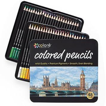 Colore Buntstifte - 48 Premium-Farbstifte, vorgespitzt fürs Zeichnen ...