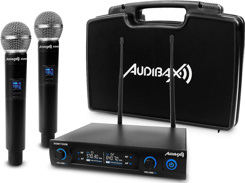 Audibax Sidney 1250 A Micrófono Doble Mano Profesional UHF Frecuencia A + Maleta