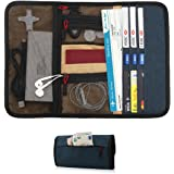 Travel Gear Organizer with Passport Cash Card Slots - Maxjoy Travel Passport Wallet, Roll-up Electronics Accessories Organizer for USB Cables Chargers and Other Electronics Accessories, Blue