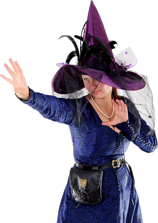 Mythrojan Belt Pouch Renaissance Costume Accessories LARP Waist Bag Cosplay Coin Purse with Raven Decoration Black
