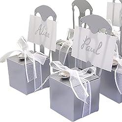 EinsSein 12x Kartonagen Gastgeschenke Hochzeit Tischkartenhalter Stuhl silber mit Namenskärtchen Hochzeitsmandeln Kartonage Geschenkboxen Geschenkbox Taufe Taufmandeln Tischkarten Candybar